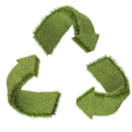 3D recycling symbol in grass texture ? isolated over a white background