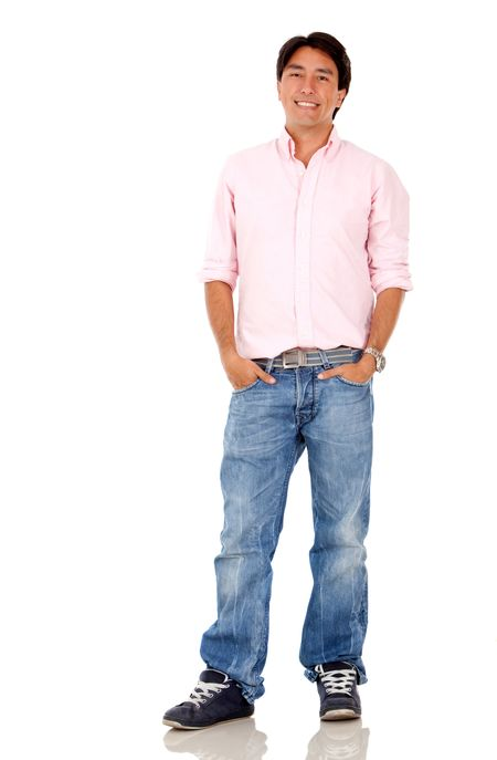 Casual man smiling and standing - isolated over white