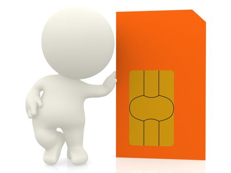 3D guy with a sim card - isolated over a white background