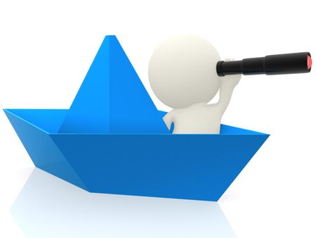3D sailor on a paper ship with a telescope - isolated over white