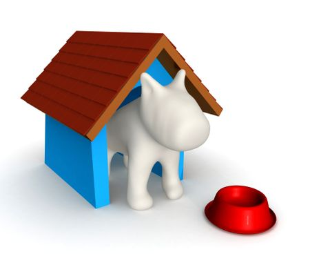 3D Dog's house - isolated over a white background