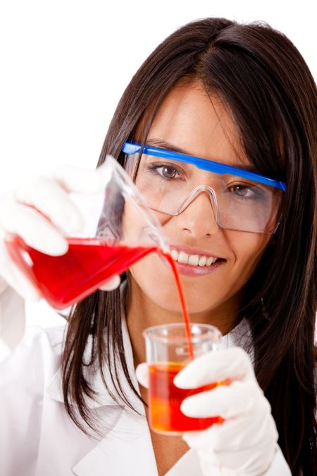Female chemist using test tubes - isolated over a white background