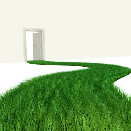 3D green path leading to a door - isolated