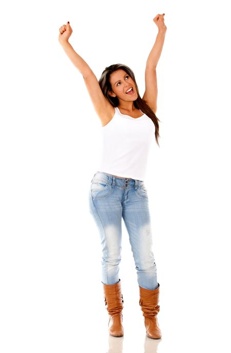 Happy woman with arms up - isolated over white