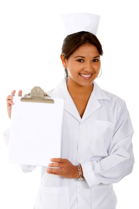 Old style nurse with a clipboard - isolated over white