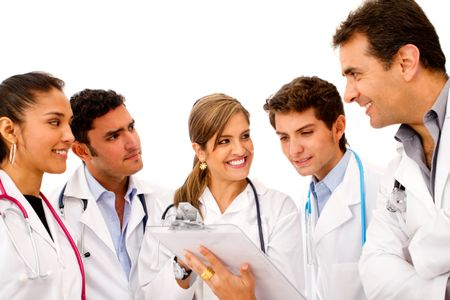 Friendly group of doctors isolated over a white background
