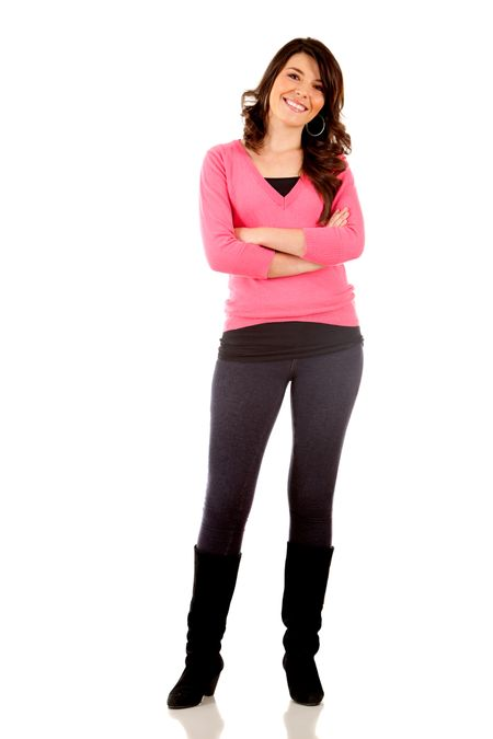 Fullbody woman looking beautiful and smiling - isolated