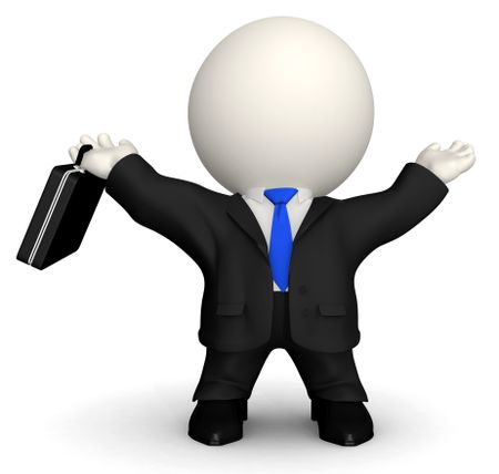 3D successful business man - isolated over a white background