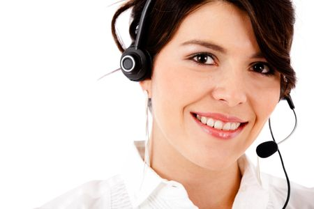 Customer support operator - isolated over a white background