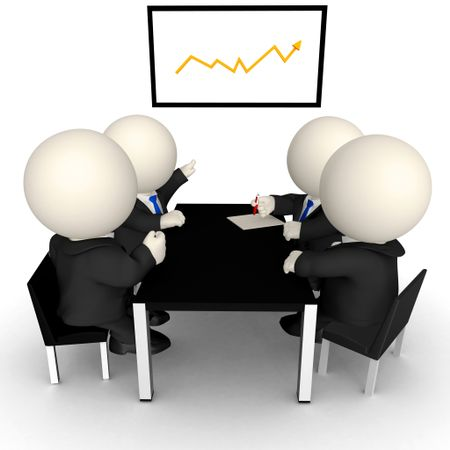 3D Business meeting with a growth graph - isolated over a white background