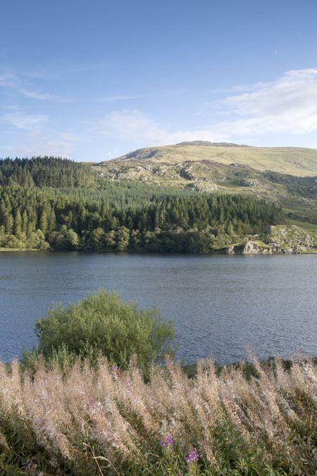 Mountain Peak and Llynnau Mymbyr Lake, Capel Curig, Snowdonia, Wales, UK