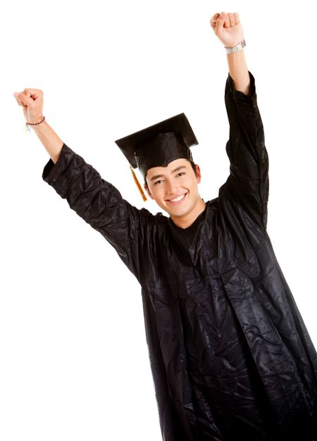 Happy male graduate with arms up - isolated over white
