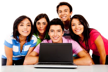 Group of people with a laptop computer ? isolated over a white background