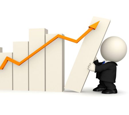 3D business man with a growth graph ? isolated over white