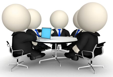 3D Business people at a corporate meeting - isolated over a white background