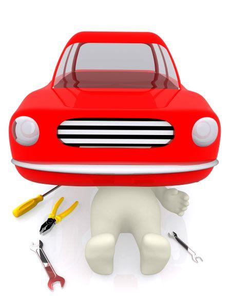 3D Mechanic in a garage under a car fixing it