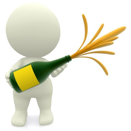 3D guy celebrating with champagne - isolated over white
