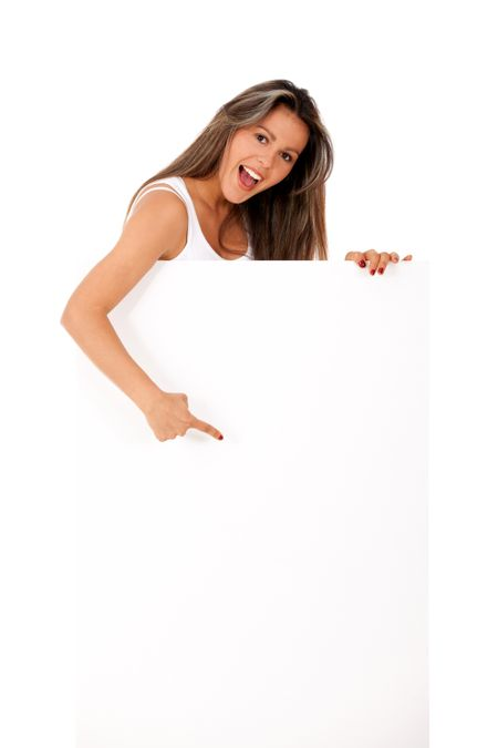 Woman pointing at a banner ad - isolated over a white background