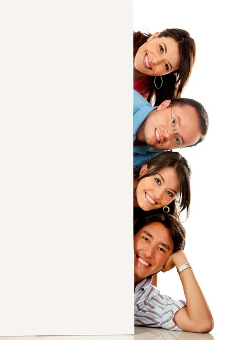 Group of people behind a banner with heads out� isolated over white