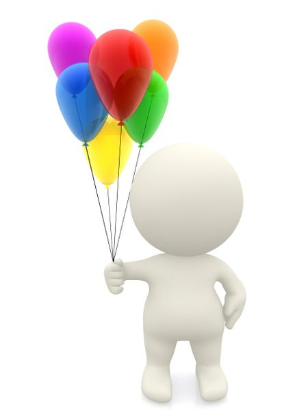 3D guy with balloons - isolated over a white background