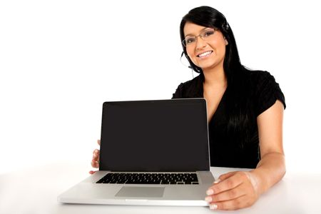 Customer support operator with a laptop - isolated