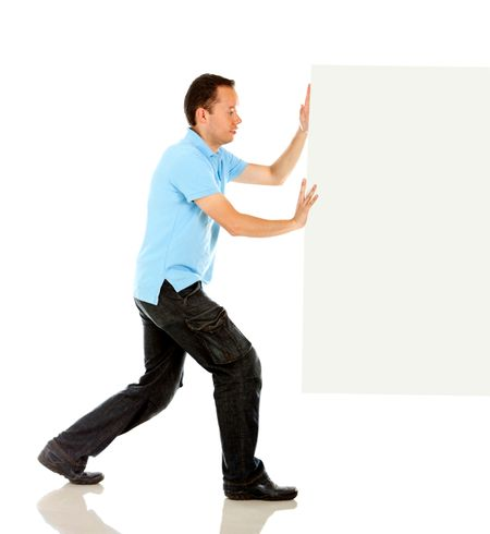 Fullbody man pushing a banner ad - isolated over a white background