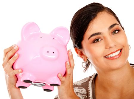 Happy business woman with a piggy bank - isolated