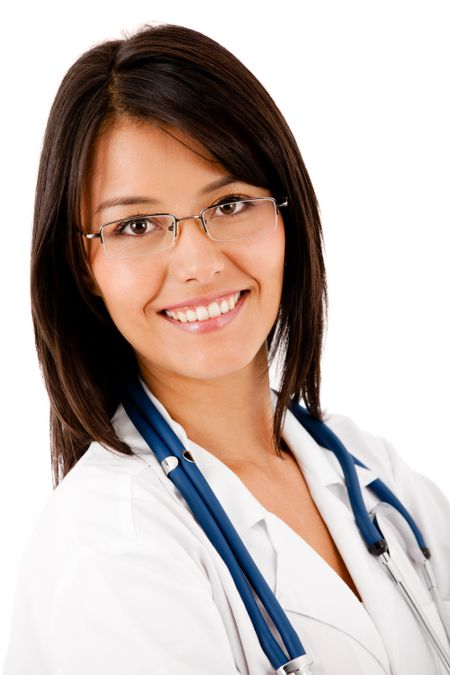 Friendly female doctor smiling - isolated over white