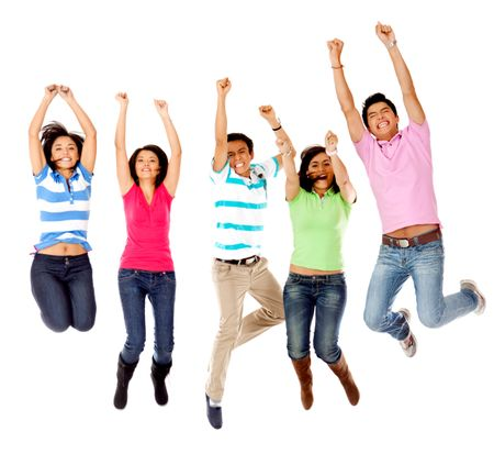 Group of excited people jumping - isolated over white