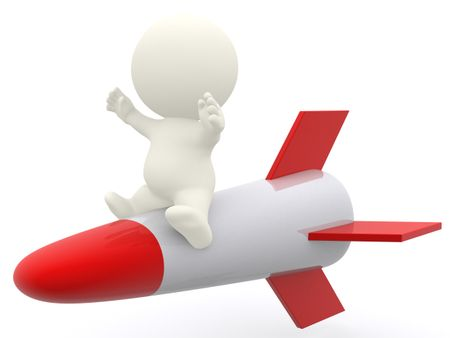 3D man riding a rocket - isolated over a white background