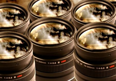 Camera Lenses with a red sky reflection