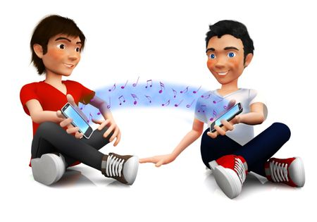 3D friends sharing music through their mobile phones ? isolated