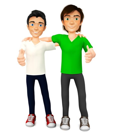 3D guys with thumbs up ? isolated over a white background