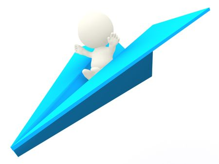 3D man riding a paper airplane - isolate over white