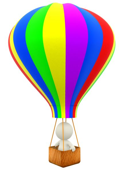 3D man taking a ride in a hot-air balloon - isolated