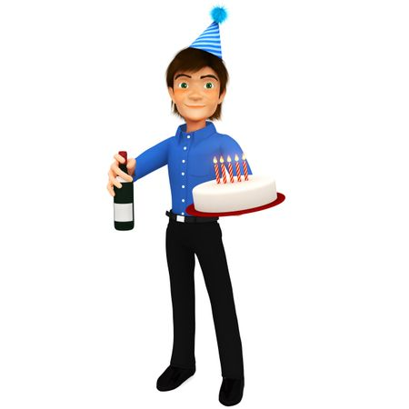 3D Man celebrating a birthday with a cake and a bottle of wine - isolated
