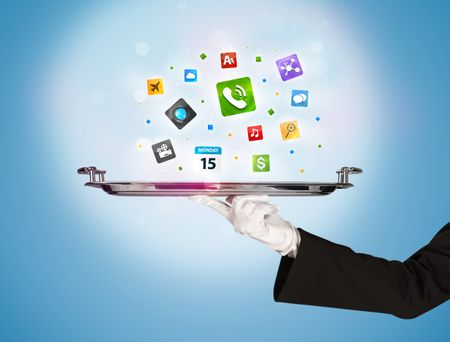 A stylish waiter hand with white gloves holding a silver plate full of social media communication icons and symbols in front of blue background