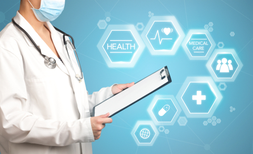 Female doctor holding notepad with blue background