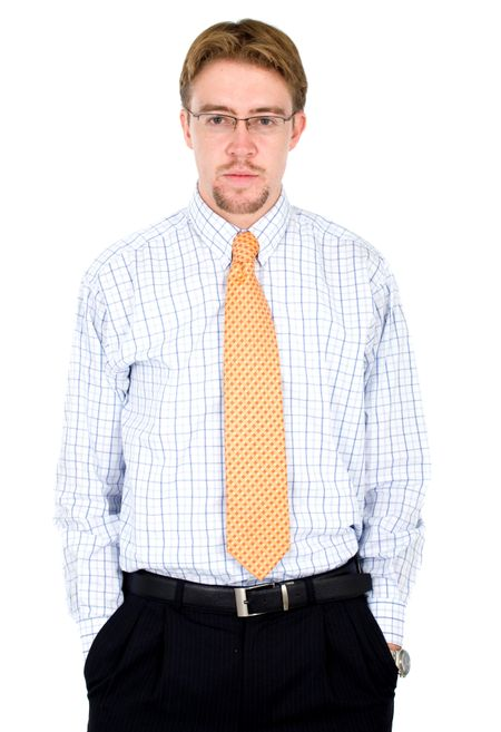 confident and funky business man portrait - isolated over a white background