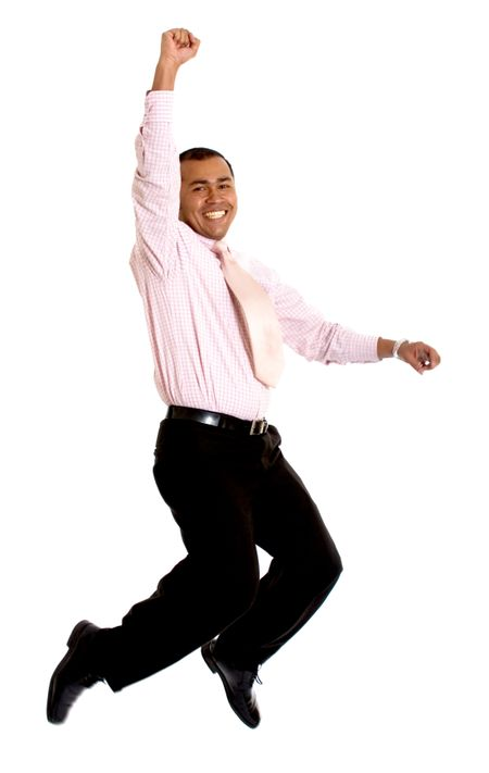 business man jumping of success - isolated over a white background