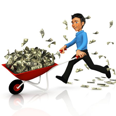 3D business man carrying money on a wheelbarrow - isolated