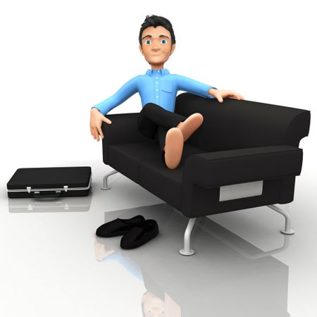 3D business man relaxing in the sofa - isolated over white