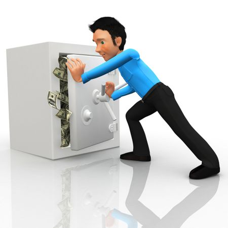 3D Business man locking a safe box full of money - isolated