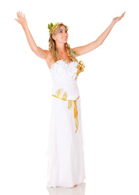 Beautiful fullbody Greek goddess with arms up - isolated over white