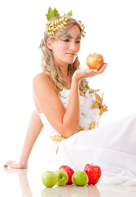 Portrait of a beautiful Greek goddess holding an apple- isolated over white