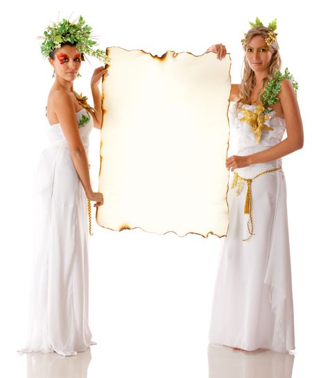 Beautiful Greek goddesses holding a banner - isolated over white