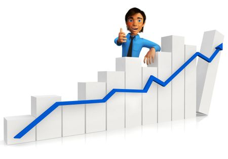 3D business man with a growth graph and thumbs up ? isolated over white