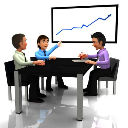 3D Business man in meeting watching a growth graph - isolated over a white background