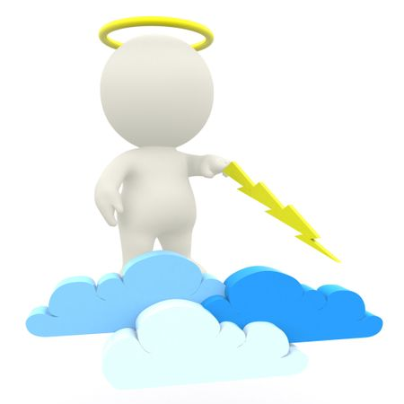 3D angel in the sky with a lighting ray - isolated