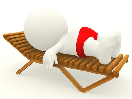 3D man in a sunbed getting a tan - isolated over white